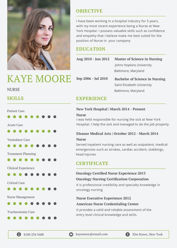printable nursing resume template