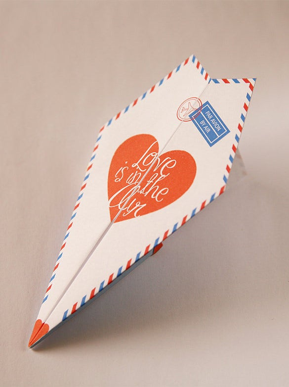 printable paper airplane anniversary card template