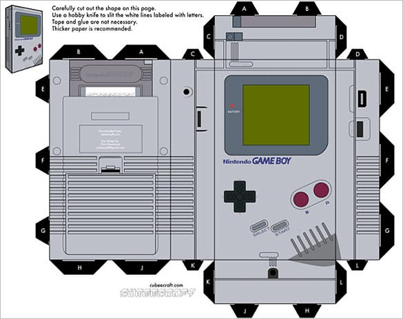 Printable Paper Craft Game Boy Template