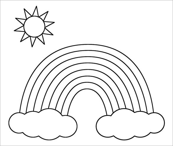 Printable rainbow with clouds and sun coloring page template free