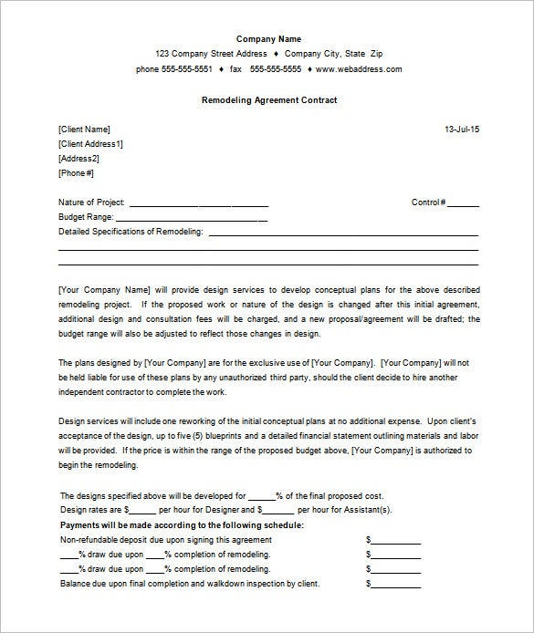Printable Remodeling Agreement Contract Template Example