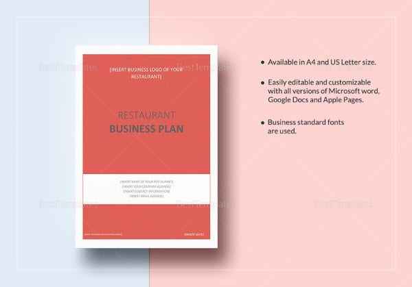 printable restaurant business plan template