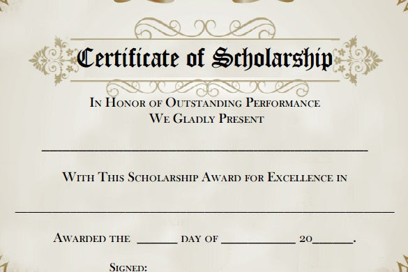 Printable Scholarship Certificate Award Template