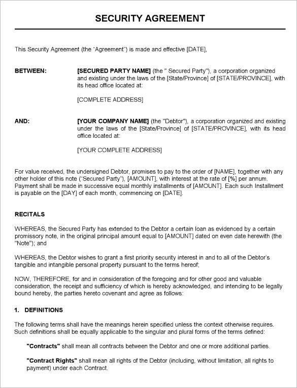 printable security guard contract agreement template download
