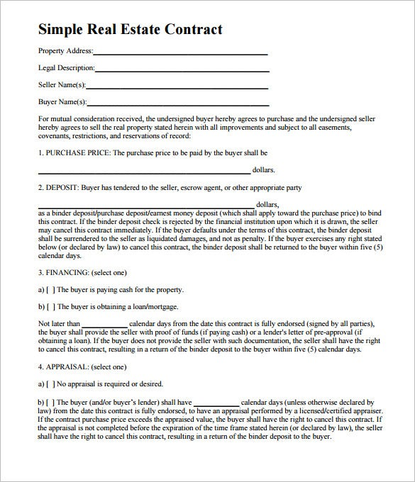 7 Real Estate Contract Templates Free Word PDF Format Download – Real Estate Purchase Agreement Template Free