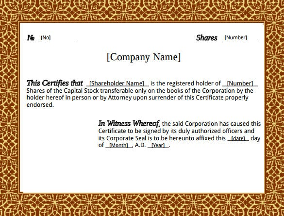 Printable Stock Certificate Template PDF  Printable Stock Certificates