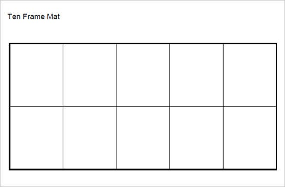 Printable Ten Frame Mat Template