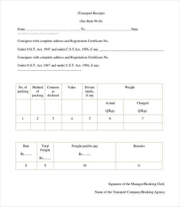 Printable Transport Receipt  Printable Receipts Free