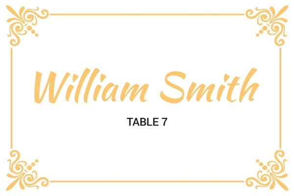 printable wedding table card template