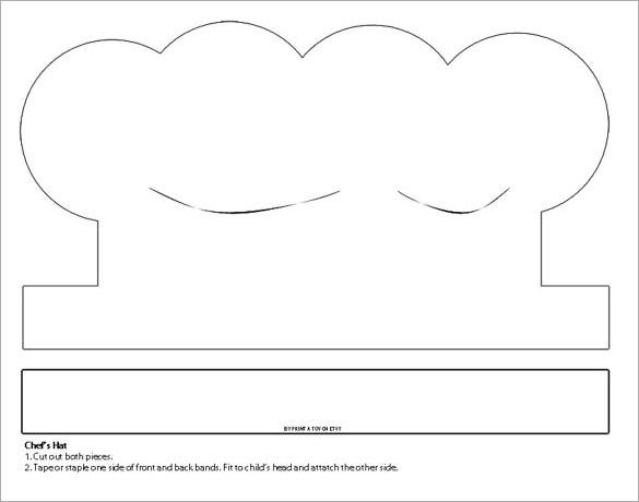 printable white paper chefs hat template