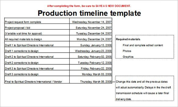 Amazing Production Timeline Template Sample