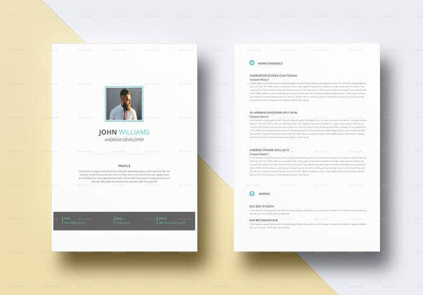Android Developer Resume Templates   Free Word Excel Pdf