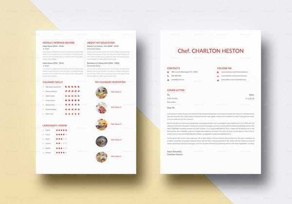 professional chef resume template in ipages1