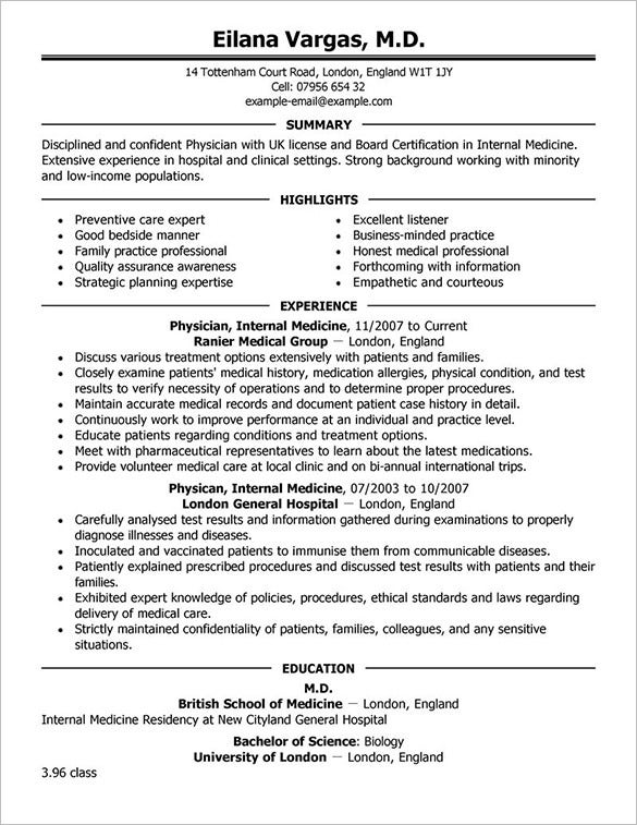 Perfect Professional Doctor Resume Template