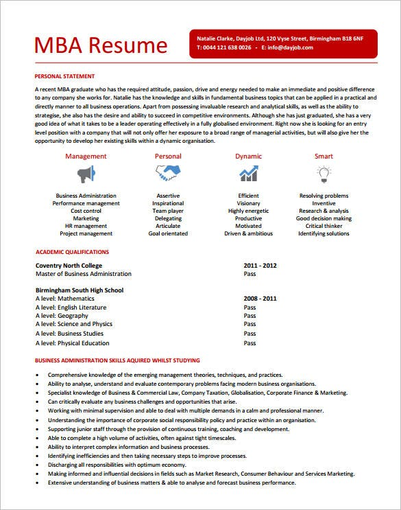 mba resume template 11 free samples examples format download