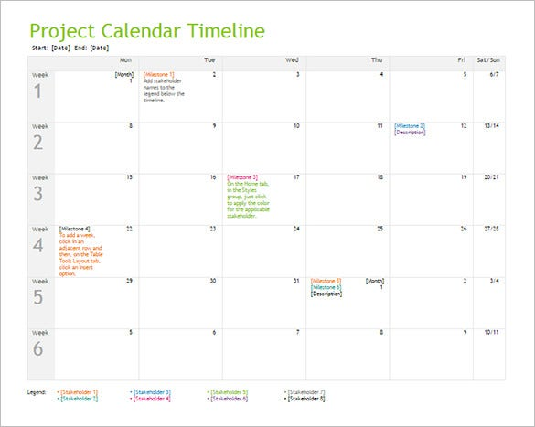 10+ Calendar Timeline Templates – Free Word, PPT Format Download ...
