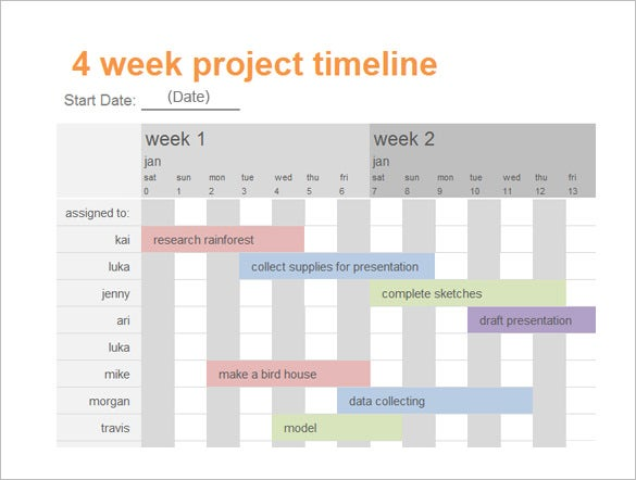 project calendar timeline in word format