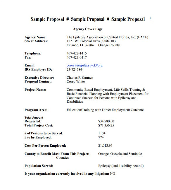 Proposal Template 140 Free Word PDF Format Download – Project Proposal Format Template