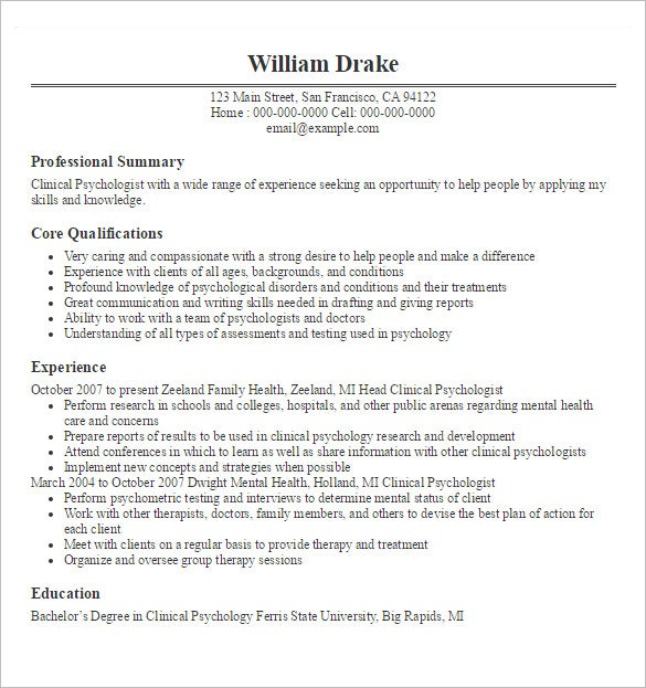 psychologist resume template