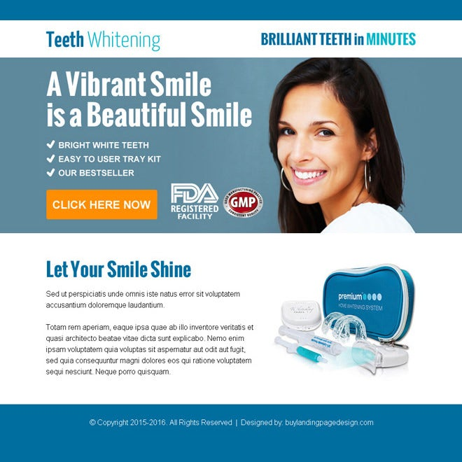 Purchase beautiful smiling teeth whitening kit ppv landing page design