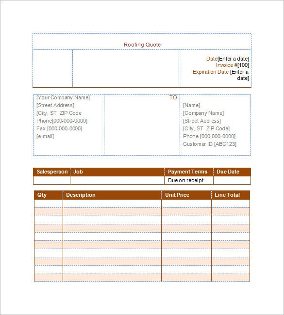 Roofing Estimate Template Free Word Excel PDF Documents - Roofing invoice template