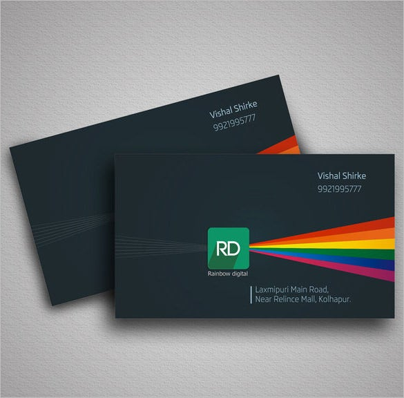 Visiting card template 13 free printable word pdf psd eps rainbow digital visiting card free download cheaphphosting