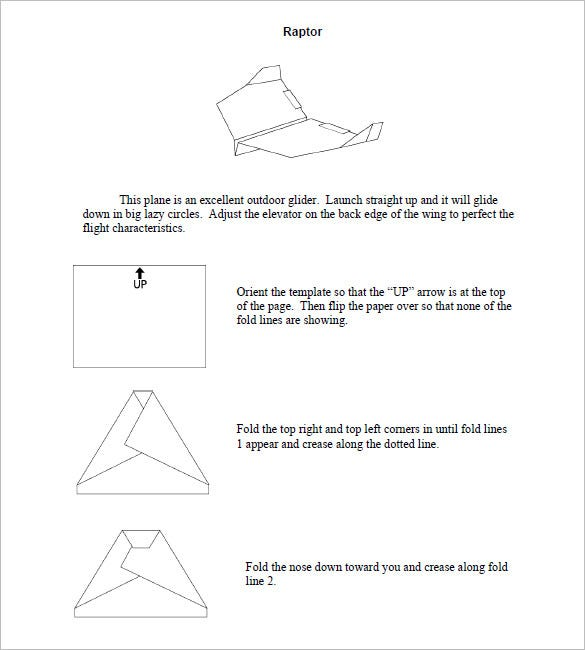 raptor paper airplane templates printable