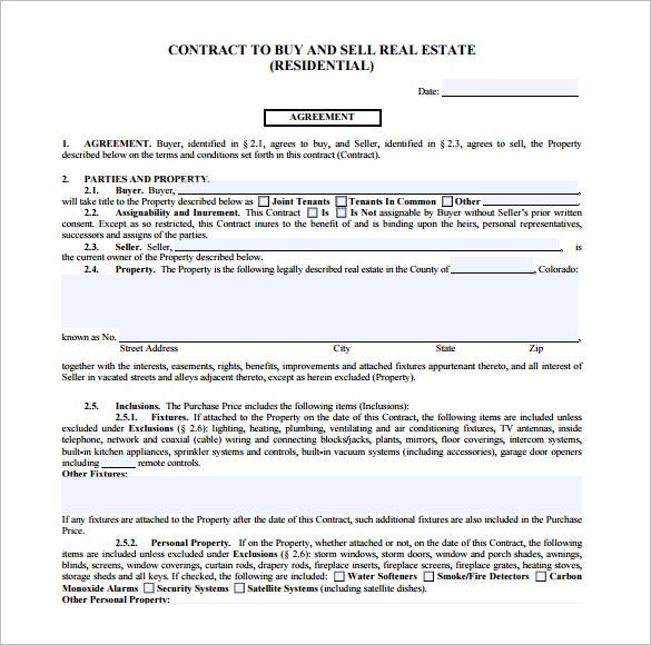 Real Estate Contracts For Sale By Owner Editable  Home Sales Agreement Template