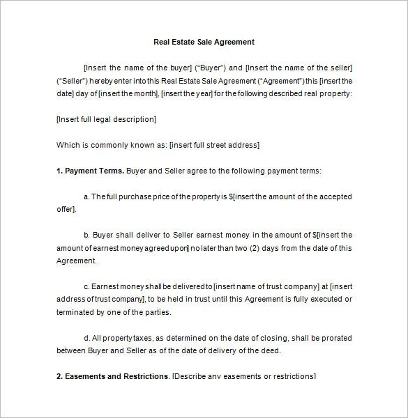 real estate sale contract template free download