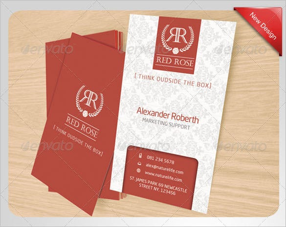 red rose name card template for 6