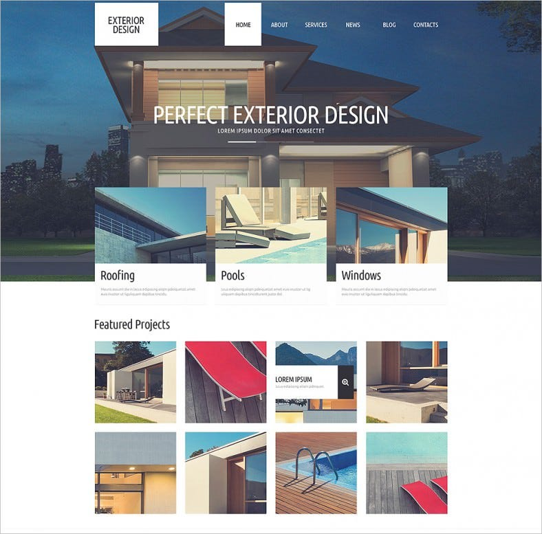 refined exterior design wordpress theme 788x777