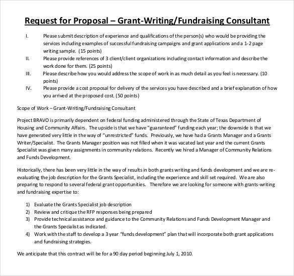 request for fundraising consultant grant proposal