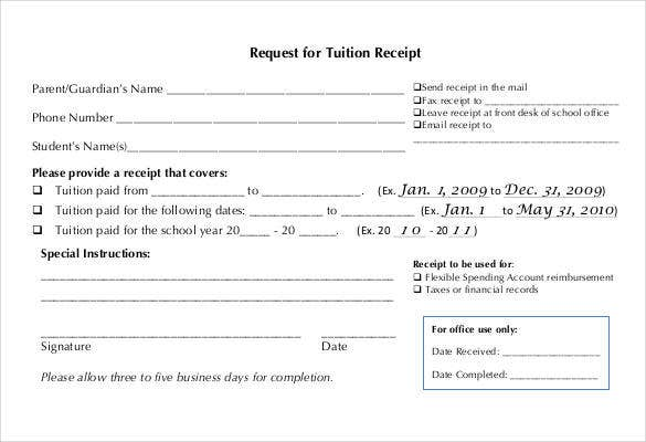Request For Tuition Receipt Template  Business Receipts Templates