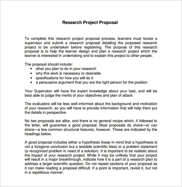 Proposal of research