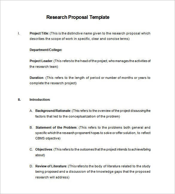 proposal for a research project