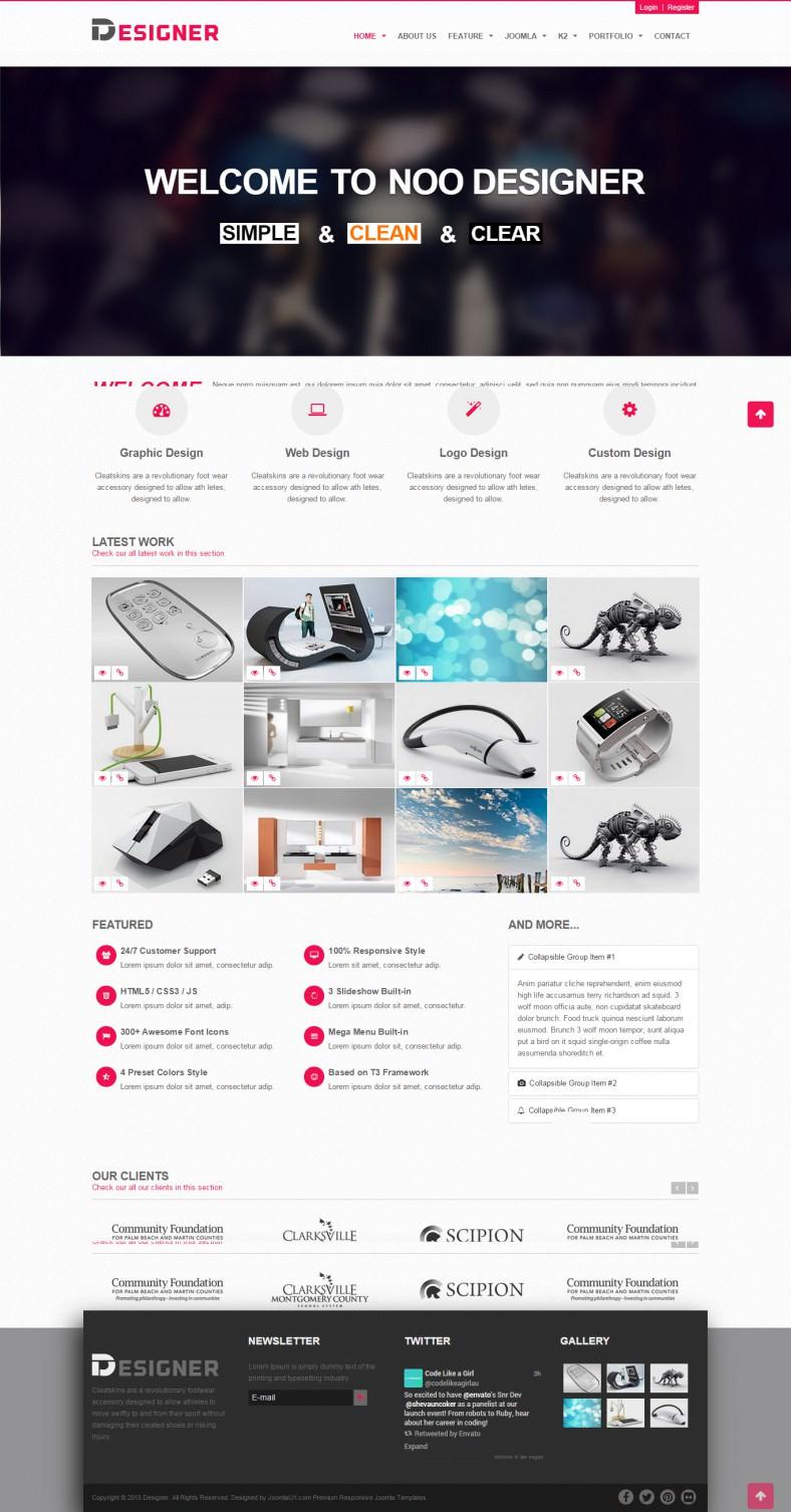 Responsive Designer Portfolio Joomla Template