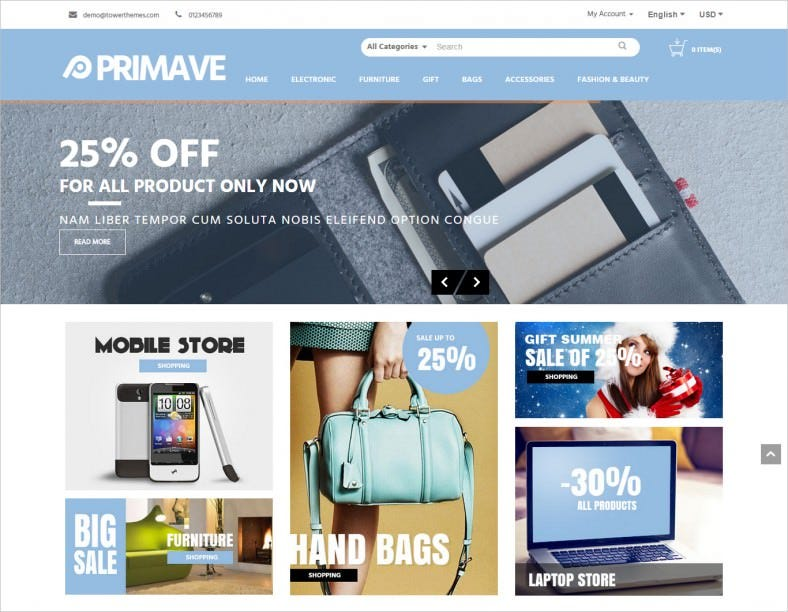 Responsive Online Stores OpenCart Theme