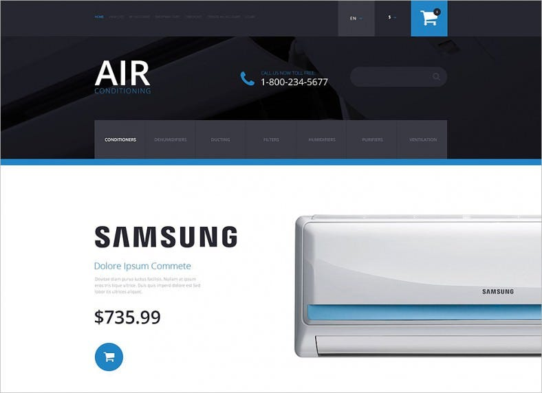 Responsive OpenCart Template for Air Conditioning