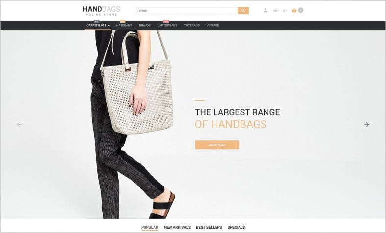 Responsive PrestaShop Theme for Hand Bag Online Store