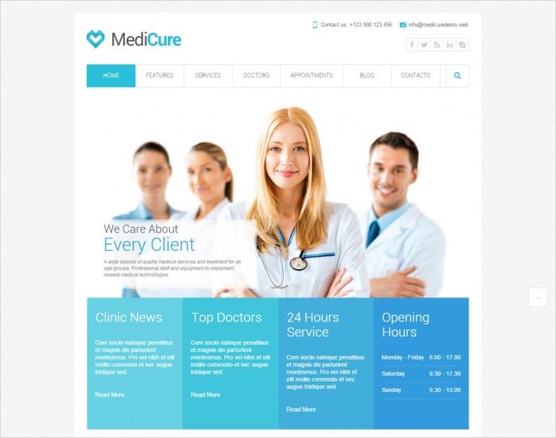 Responsive & Retina Medical HTML5 Template