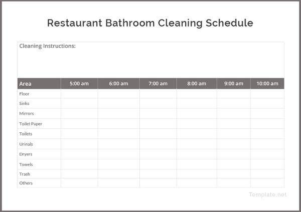 restaurant-bathroom-cleaning-schedule-template
