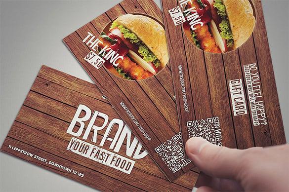 restaurant psd gift card template