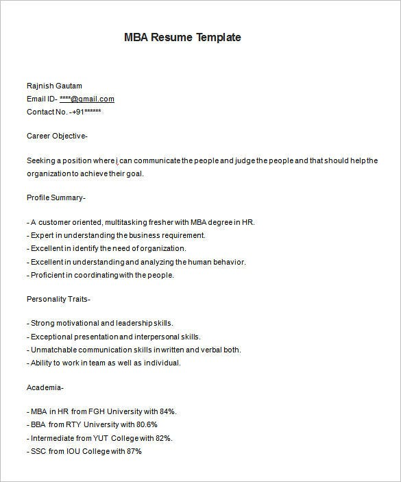 Resume Template For MBA HR Fresher Free Download