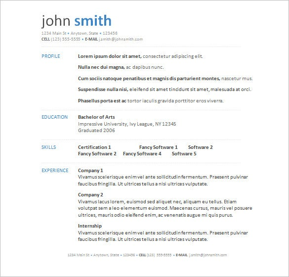 14 Microsoft Resume Templates Free Samples Examples Format – Resume Template for Word