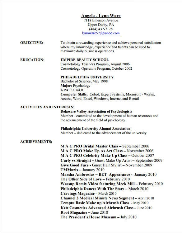 resume for hair stylist and cosmetologist pdf