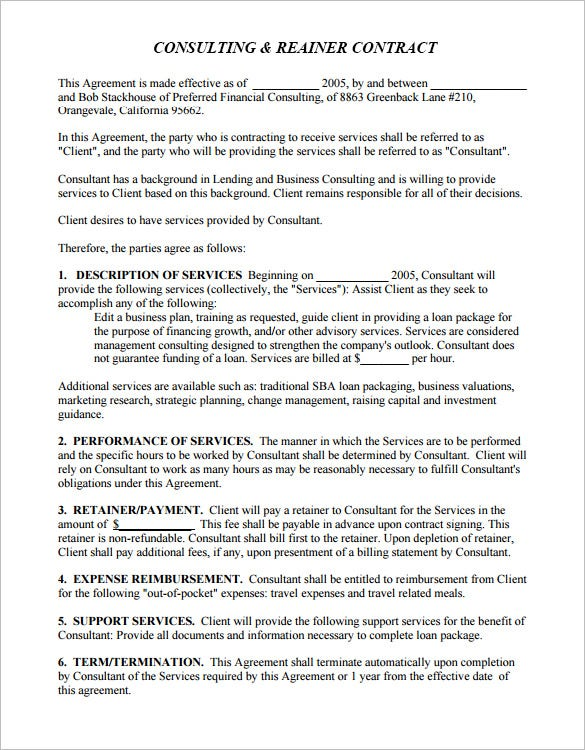 Retainer Contract Templates  Free Word Pdf Format Download