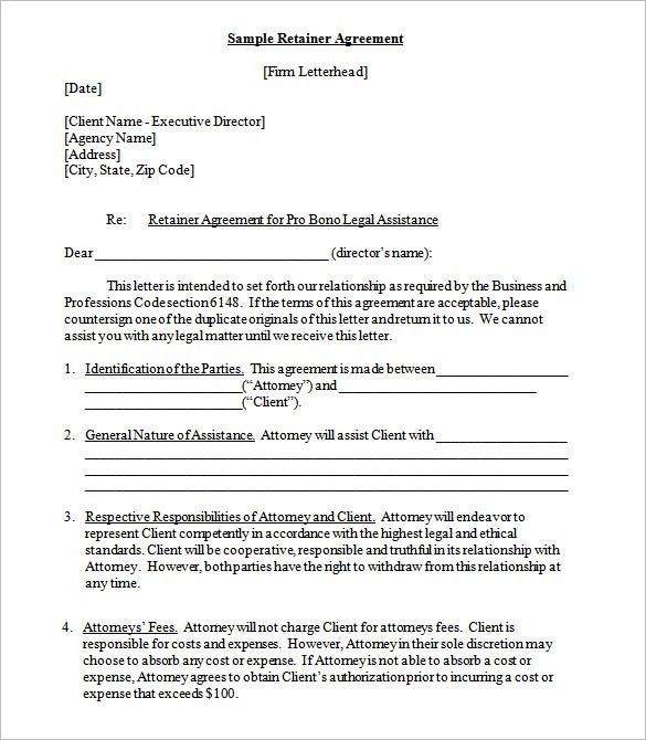 Retainer Contract Templates  Free Word  Format Download