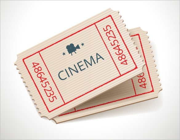 retro style cinema ticket design