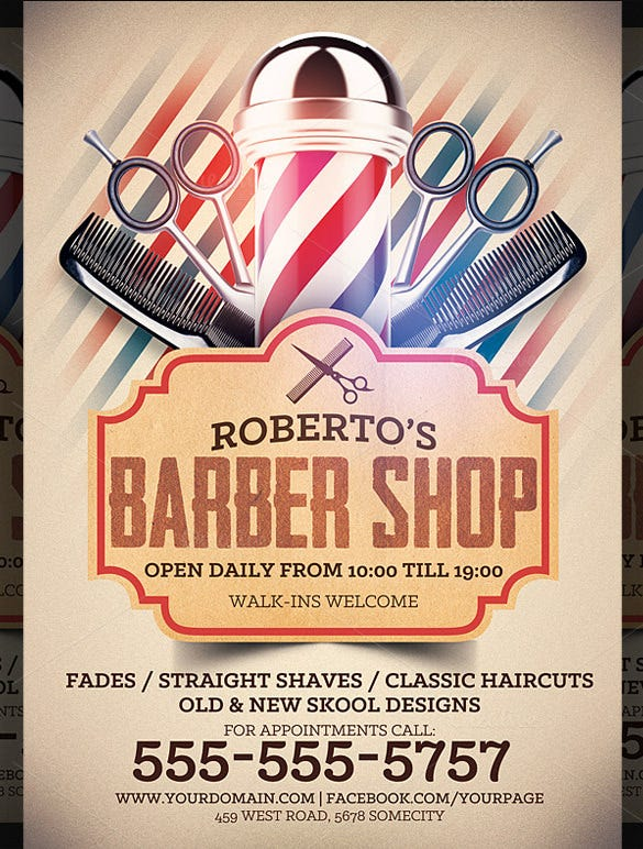robetros barber shop flyer template