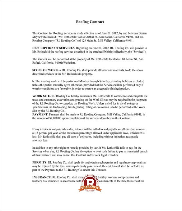 Roofing Contract Templates  Free Pdf Format Download  Free